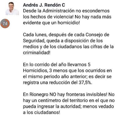Alcalde de Rionegro en redes